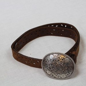 TONY LAMA LEATHER BELT WITH SILVER COLORED BUCKLE